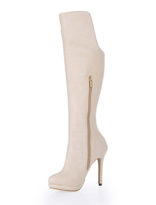 Ecru White Zipper PU Leather Knee Length Boots for Woman