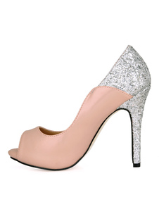 Chaussures à talons aiguilles bicolores peep-toe en PU