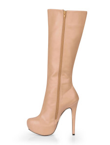 Nude Color Almond Toe PU Womans Knee Length Boots
