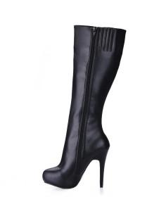 Image of Stivali larghi al polpaccio donna 2018 Stivali tacco medio alti con punta arrotondata e al ginocchio