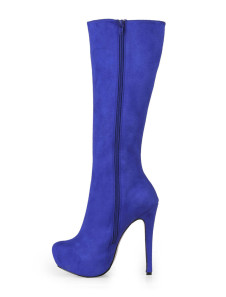 Royal Blue Almond Toe Stretch Satin Sanding Womans Knee Length Boots