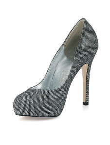 Shoes|High Heels Sexy Black Silver PU Stiletto Heel Womens  Pumps