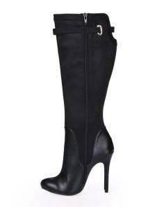 Bottes à talons aiguilles zippés sexy noires en satin stretch poncé