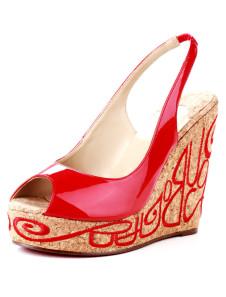 4 7/10 ' Piattaforma rosso Peep Toe Sling Back Sandalo con zeppa