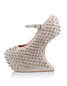 Sexy Beige Ankle Strap Spikes Womens Wedge Shoes