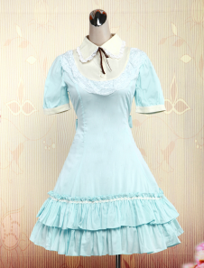 Light Blue Short Sleeves Cotton Sweet Lolita Dress