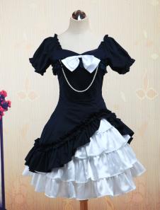 Short Sleeves Bow Chain Cotton Lolita Dress