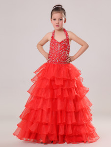 Ball Gown FloorLength Red Tulle Girls Pageant Dress