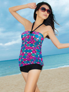 Printed Polyester One Piece Halter Womens Tankini Swimwear