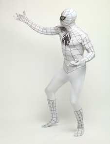 White Black Stripe Spiderman Zentai Catsuit Lycra Spandex Unisex Black Spider Print