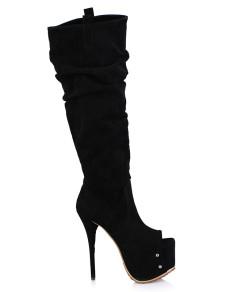 Black Open Toe Nubuck Womans Knee Length Boots