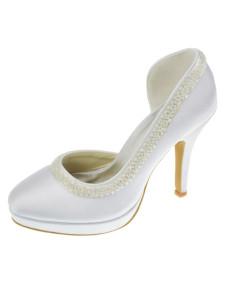 Cute White Satin 3 910 High Heel 25 Platform Wedding Shoes