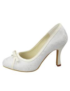 Pretty White Satin 3 12 High Heel Wedding Shoes
