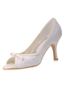 Beautiful White Lace Satin 3 15 High Heel Wedding Shoes
