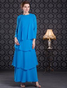 Robe mère de mariés bleue multicouche longueur cheville