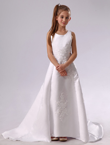 White Round Neck A-line Satin First Communion Dress