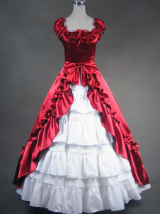 Victorian Classic Lolita Red Satin Long Prom Dress Wedding Dress