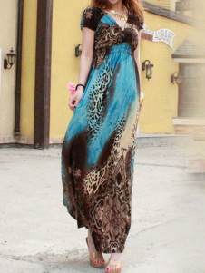 Animal Print Viscose Vneck Short Sleeve Maxi Dress