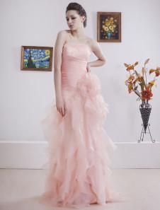 Pink Strapless Sweep Satin Organza Golden Globe Dress