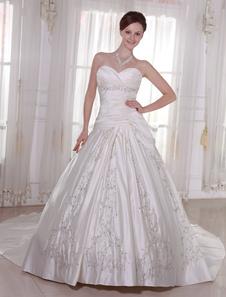 Robes de mariée bretelles en satin robe de mariée plissée brodée perlée Dropped taille chérie décolleté robe de mariée avec le train