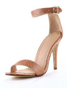 Milanoo UK  Fashion Brown PU Leather Snake Print Stiletto Heel Women's Dress Sandals