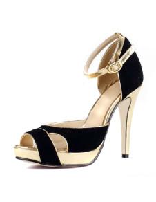 Sandali alla moda neri lucenti formali di croce con tacco da 12cm