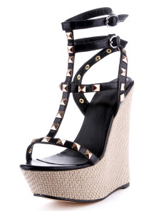 Chic Black Rivet Ankle Strap PU Leather Open Toe Womens Wedge Shoes