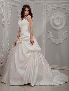 ivory-v-neck-beading-lace-satin-bridal-ball-gowns