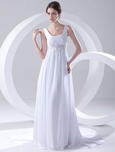 white-empire-waist-applique-beading-chiffon-bridal-wedding-dress