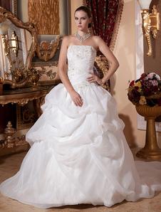 Robes de mariée blanche robe de bal robe de mariée sans bretelles en organza perles ruché chapelle train robe de mariée
