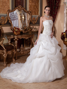 Elegant White Satin Organza Strapless Ball Gown Wedding Dress