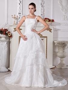 Chic White Strapless Beading Aline Bridal Wedding Gown