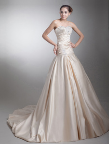 strapless-beading-taffeta-champagne-brides-wedding-dress-with-ball-gown-sweetheart-neck