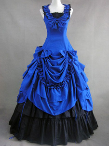 Image of Women's Vintage Costume Victorian Royal Blue Cotton Ruffle Retro Maxi Dress Halloween