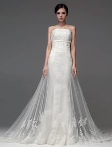 elegant-strapless-beading-mermaid-wedding-dress-for-bride
