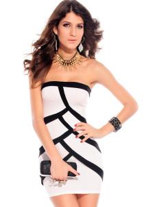 black-white-splice-strapless-mini-dress