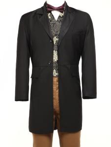 Black Lapel Full Length Buttons Pockets Jazz Cloth Mens Steampunk Swallowtail Coat