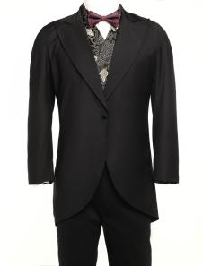 Black Lapel Jazz Cloth Mens Full Length Steampunk Corner Cutting Coat
