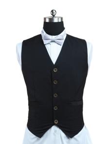 Classic Black Tweed Steampunk Waistcoat
