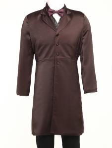 Dark Brown Lapel Full Length Buttons Mens Steampunk Coat