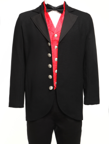 Fabulous Black Lapel Buttons Jazz Cloth Velvet Trim Mens Full Length Steampunk Coat
