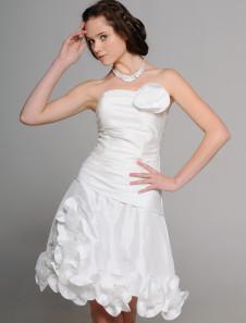 Robe de mariée gracieuse A-ligne en taffetas blanc avec fleur bustier mini