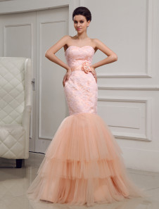 Beautiful Tulle Lace Sweetheart Neck Fashion Evening Dress Milanoo