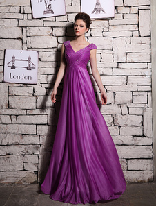 Magenta Evening Dress Elegant ShotSilk Prom Dress V Neck Beading A Line Sleeveless Party Dress