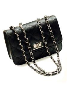Image of Borsa a tracolla con catena classica nera in PU di pelle