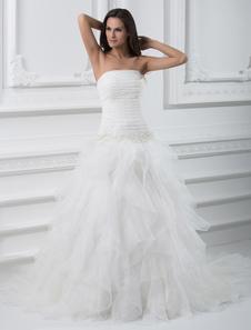 White Wedding Gown Strapless Tiered Organza Wedding Dress