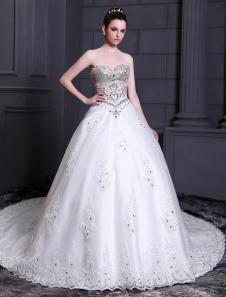 Image of Bianco abito da sposa della principessa scollato in tulle