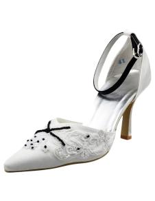 4 12 High Heel White Lace Applique Satin Ankle Straps Platform Wedding Shoes