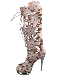 Apricot Flower Cut Out LaceUp Rhinestone Sheepskin Suede Womens Knee Length Boots