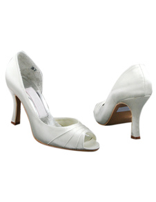 Attractive White Satin 3 12 High Heel Wedding Shoes